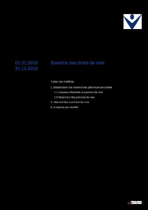 Exercice des droits de vote 2016