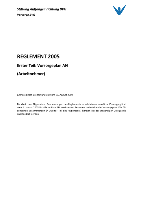 Vorsorgeplan Arbeitnehmer 2005