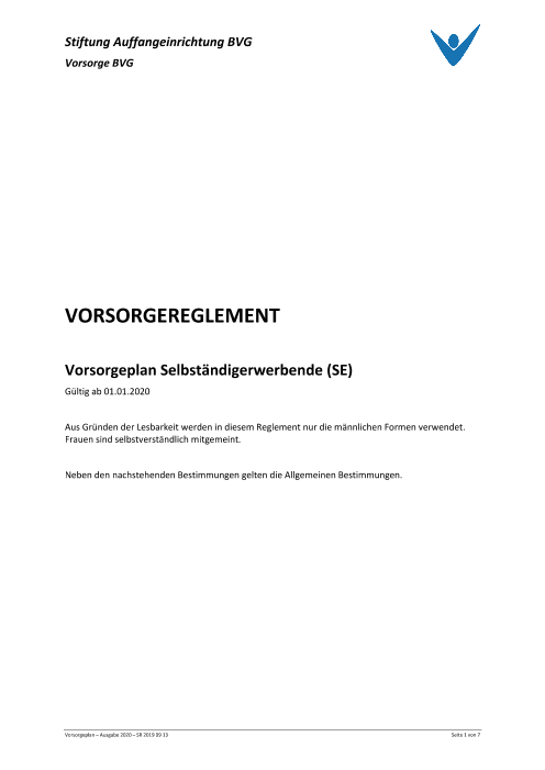 Vorsorgeplan Selbständigerwerbende (SE)