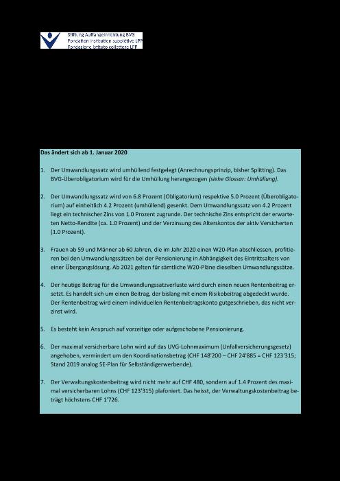 Factsheet W20-Pläne