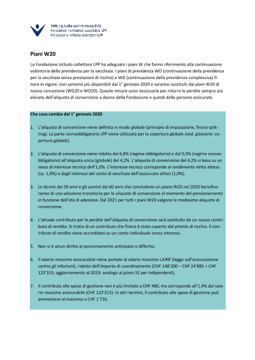Factsheet piani W20