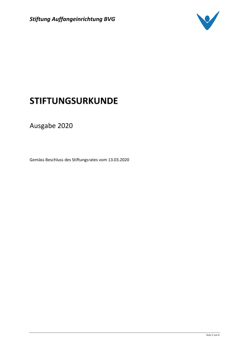 Acte de fondation 2020 (version originale en allemand)