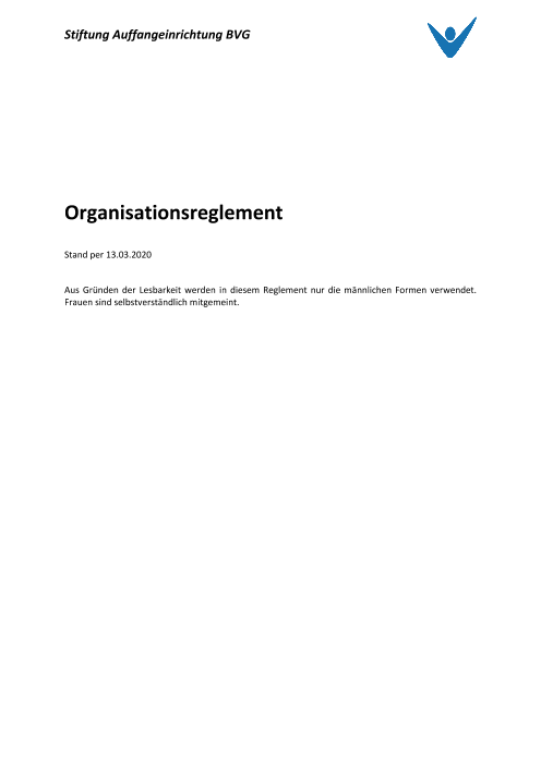 Organisationsreglement per 13.03.2020