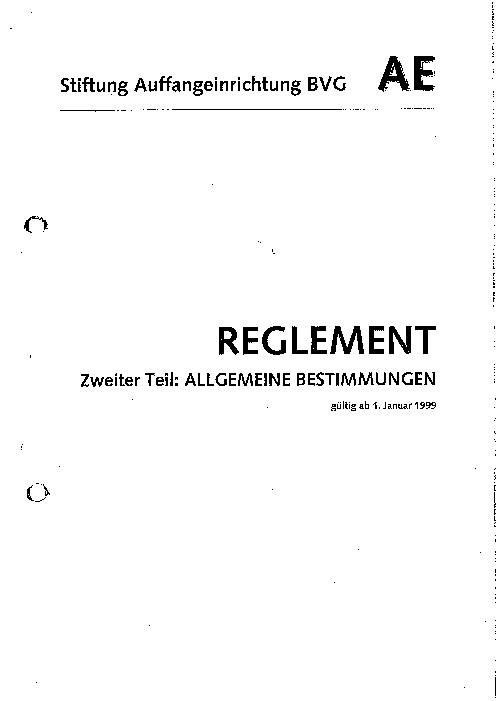 Allgemeine Bestimmungen 1999