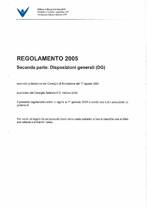DG - Disposizioni generali 2005