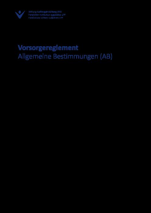 AB - Allgemeine Bestimmungen für Vorsorgepläne 2022